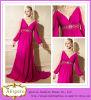 高品質Fat Woman (LH0038)のためのBeads V Neck Backless Floor Length Evening DressのLine Red Chiffon