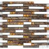 Folha de ouro Marrom Linear Crystal Mosaico de Metal