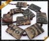 편평한 Retangle 원석 구슬, 마노 Dzi 티베트 구슬, 브라운은 Antiqued 마노 (GB0113)를