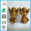 Decoración de oro del hogar del arte de Polyresin de la estatuilla del ángel de Polyresin