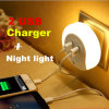 小型創造的な動きセンサー二重USBの充電器LED夜ライト