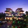 Esposizione della luce laser con gli indicatori luminosi solari del giardino per movimento dell'acquazzone della stella