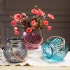 Jarrón de flores de cristal con asa