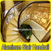 Lujo interior de la escalera en espiral de cobre de pasamanos de escaleras de aluminio