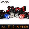 Okadu Ht08のブルーグレー赤く黒いカラークリー族T6のヘッドライト1000lm LEDのヘッドライトAAA/18650の電池の帽子ランプ
