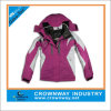 Chaqueta de esquí impermeable al aire libre de las mujeres con la aleta ajustable del gancho y del lazo