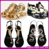 2015 nuevo Design Top Quality Ankle Strap Flat Sandals para Lady (H-2051)