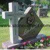 Headstone americano do granito do estilo (os marcadores lisos, dados, as bases, inclinam o estilo)