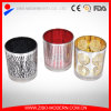金属のハンドルが付いている印刷された多彩なガラス蝋燭ホールダー