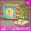 Многофункциональный деревянный ящик игрушки для детей, узнайте деревянная игрушка окно со строкой валик клея, Xylophone игрушек, Blackboard, часы, номера W11b059