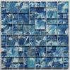 手のペンキの正方形の芸術パターン組合せの青いクリスタルグラスのモザイク・タイル