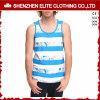 Großhandelssublimation-kundenspezifisches Sleeveless Shirt-Mann-Weiß (ELTMBJ-450)