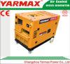 tipo silenzioso aria del generatore diesel mobile di 5kVA Ym9000t Ym190 raffreddata