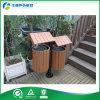 Recipiente para residuos de madera plástico del metal de acero de la Polvo-Capa de dos compartimientos (FY-790G)