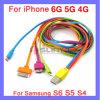 Colorido 4 en 1 cable del USB Cable plano de la sinc. Del cargador del relámpago 1m / 3FT para el iPhone 6 7 más el teléfono móvil de Samsung del iPad