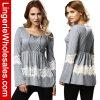 Cordón gris de la manera que cose la camiseta larga de las mujeres de la funda