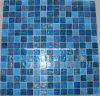 青いGoldlineのガラスモザイク・タイル(HGM327)
