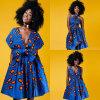 Multi-Дорога печати женщин вскользь африканская плиссировала платье качания, богемское платье типа