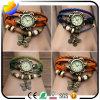 Qualitäts-Form-Frauen-Quarz-Armbanduhr und Webart-Verpackung um lederne Uhr