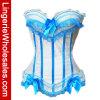 Mujeres blancas con el corsé atractivo de la ropa interior azul del cordón