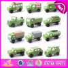 2015 heiße Verkaufs-Kind-hölzerne Militärfahrzeuge, hölzernes Auto-Spielzeug-MiniMilitärfahrzeuge, grüne Farben-MiniMilitärfahrzeug-Spielzeug W04A154