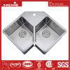 Handmade évier de cuisine en acier inoxydable, symétrique à la main un évier, Rayon bol en acier inoxydable double évier de cuisine à la main