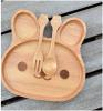 Plaque en bois de plaque de lapin de dessin animé de vaisselle en bois d'enfants avec la fourche et la cuillère