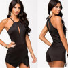 Plus défunt Sexy Backless Black Playsuits Halter Jumpsuits pour Women