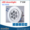 Huis/Office/Hotal/Bedroom 7watts LED Ceiling Spotlight 220V, 7W Recessed LED Round Down Light