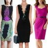 Vestidos formais do contraste elevado elegante do comprimento do joelho da cintura das senhoras do escritório