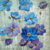 Pinturas hechas a mano pared del arte impresionista azul y púrpura Flores en la lona para la decoración casera