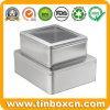 Metallgeschenk, das quadratischen Batterie-Zinn-Kasten mit Belüftung-Fenster verpackt