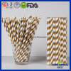 Décoration de mariage Golden Stried Strawberry Paper Straw