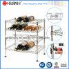 Metal 4 Tiers Ajustable Cromo de vino plano (WR453047C4R)