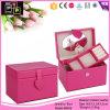 カスタム贅沢なピンクのオルゴールの女性の革宝石箱(8259)