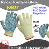 10g кевлара вязаные рукавицы Fingerless с ПВХ точками упора для рук/ EN388: 234X