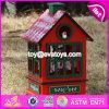 Коробка нот W07b023b нового рождества формы дома конструкции красного деревянная