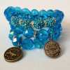 Il braccialetto del nuovo modello, pavimenta l'insieme del braccialetto del branello di vetro, braccialetto di fascino della costellazione bordato Birthstone del Aquamarine di marzo