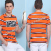 Camiseta del algodón de los hombres redondos mercerizados el 100% del cuello/camisa de los hombres de Tee/Striped de los hombres