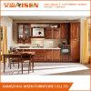Gabinete de cozinha de madeira da noz clássica linear da forma com porta de vidro