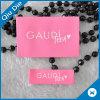 Rótula de tecido rosa de fundo rosa lavável personalizado para roupa / Vestuário