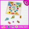 2015 교육 Kids Wooden Puzzle Set Toy, Learning Number 및 Time Wooden Clock Puzzle, Wooden Toy Puzzle Alarm Clock W14m076