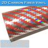 Rojo/Plata (twill) Rainbow láser 2D holográfico de fibra de carbono adhesivo