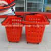 Poignée poussant le panier à provisions en plastique de client de supermarché de 4 roues