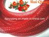 Deco rojo tubo de malla para la decoración de Navidad y luces y envoltura de regalos