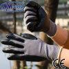 Перчатка работы безопасности покрытия ладони нитрила Nmsafety черная