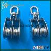 Bloco de polia giratório de rolo duplo de aço inoxidável