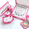 Caixa de empacotamento ajustada da jóia de couro agradável do presente do plutônio da cor-de-rosa