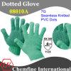 7 г Зеленый полиэстер / хлопок трикотажные перчатки с черным ПВХ точек / EN388: 112X