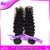 未加工インドの巻き毛のバージンの毛販売のバージンの人間の毛髪の拡張の一等級の自然な黒4束のロットのインドの深い波の巻き毛の織り方の
